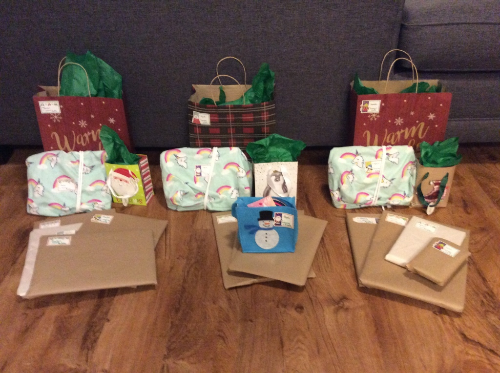 Picture of wrapped gifts for our girls